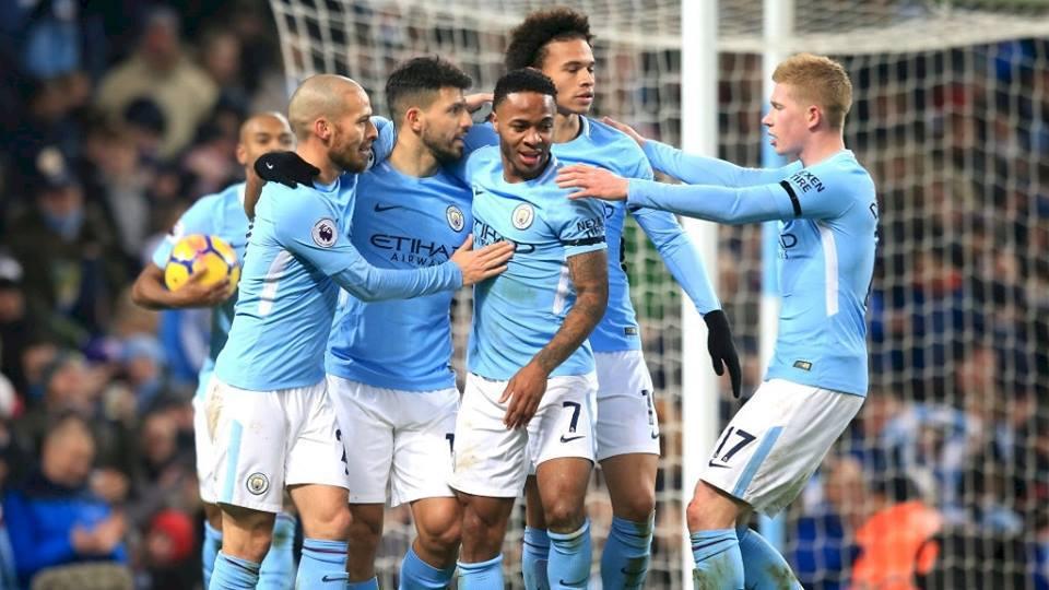 Esultanza di gruppo Manchester City