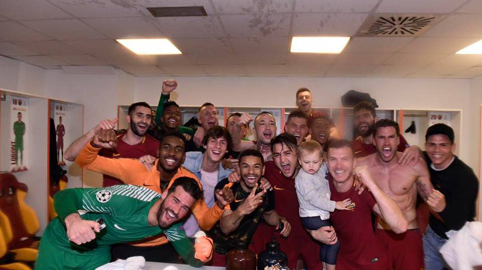 Spogliatoi Roma dopo quarti Champions vs Barcellona