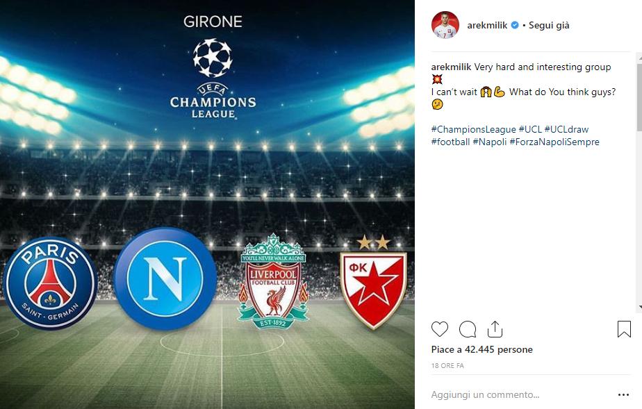Reazioni sorteggio Champions League 2018/19 Milik