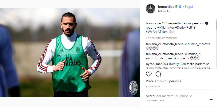 Bonucci screen Instagram 30esima giornata