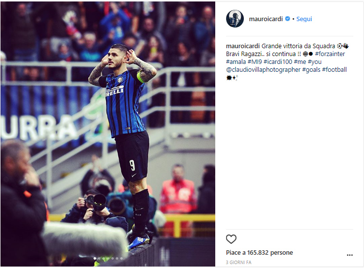 Icardi screen Instagram 30esima giornata