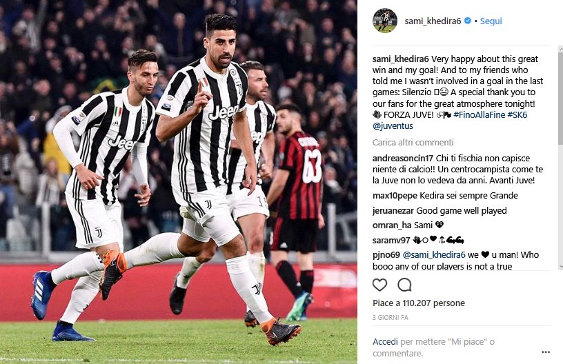 Khedira screen Instagram 30esima giornata