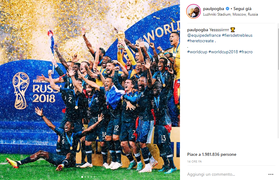 Pogba Instagram Finale Mondiali 2018