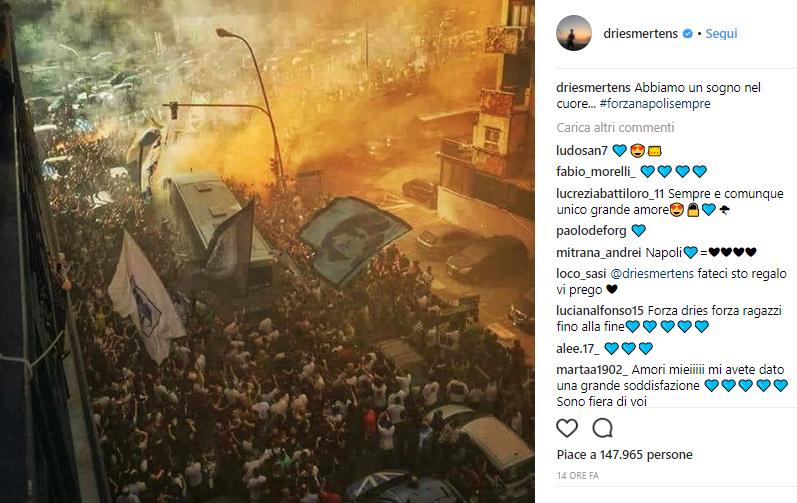 Instagram Mertens festeggiamenti Juve Napoli